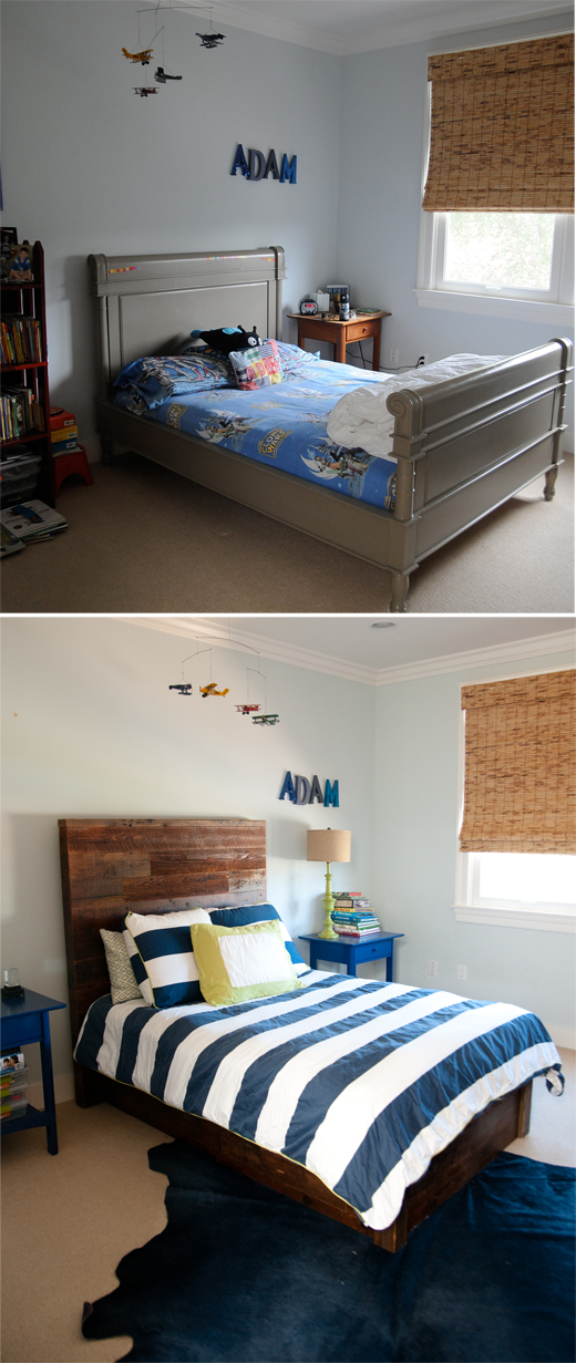 Adding texture, color, and pattern to a boy's bedroom creates a simple makeover @DL Rhein