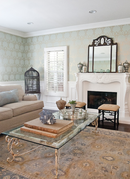 Subtle colors, beautiful wallpaper, and timeless pieces is the perfect solution for a living room makeover | D.L. Rhein