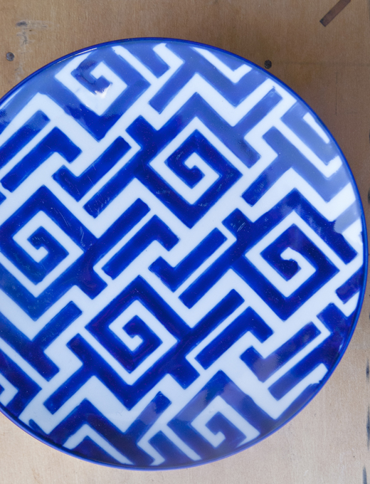 Blue Patterned Salad Plates | @D.L. Rhein