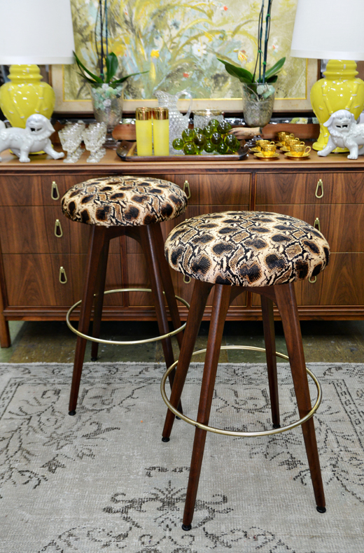Vintage Bar Stools Get a Makeover - After Photos | @D.L. Rhein