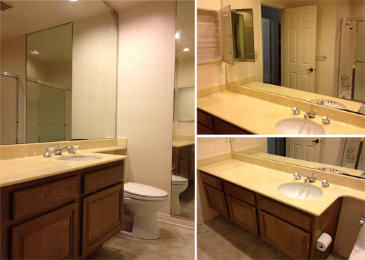 A young boy's bathroom in need of a facelift. Read our post to see how we did it. #tile #makeover #bathroom | @D.L. Rhein