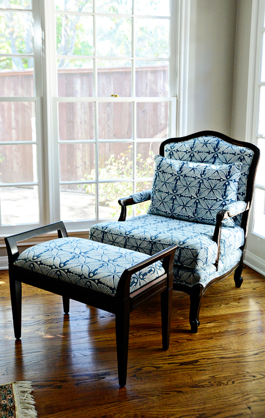 Vintage chairs we found on a hunt are given new life with an indigo batik fabric and a rich ebony stain. #vintage #makeover #batik fabric #chair #ottoman #beautiful #interior design | @D.L. Rhein