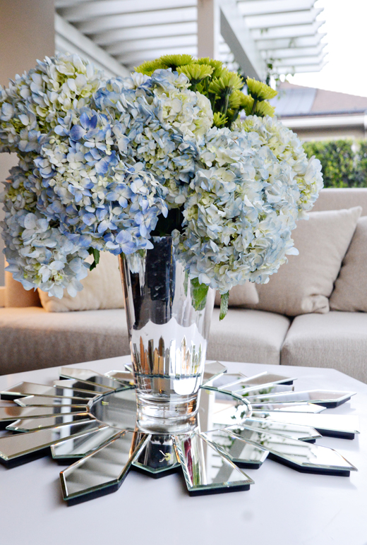 Hydrangeas have always been one of my favorite flowers.   The tight clusters of buds spill over the vase and don't require much else, however,  I do love to pull out the green undertones. | @D.L. Rhein