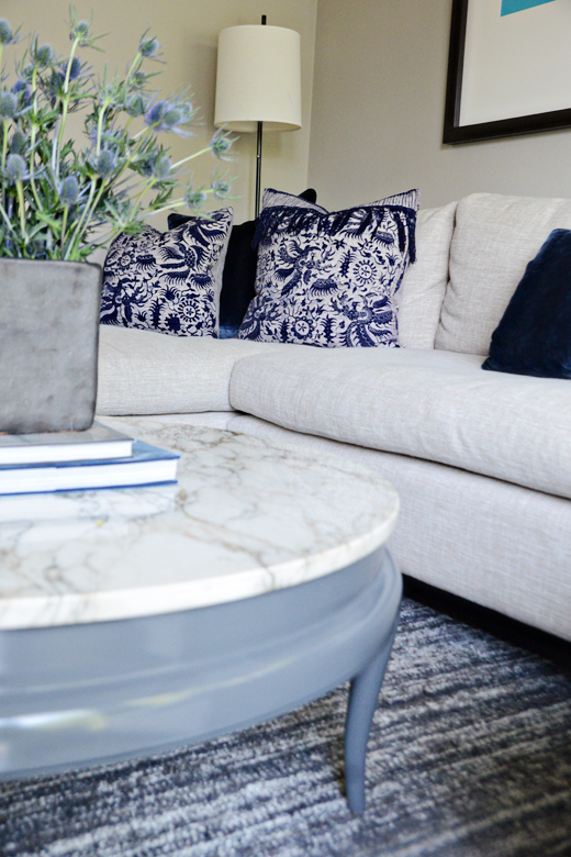 Vintage Runner turned into Pillows | Refinished Marble Coffee Table | #dlrhein #interiordesign