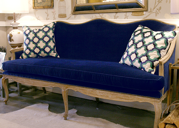 Reupholstered Settee in Navy Velvet and Brass Nail heads | D.L.Rhein #dlrhein