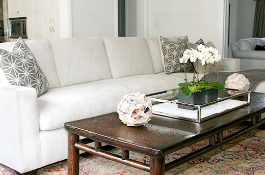 Modern Asian coffee table | Custom sectional in Belgian linen | D.L. Rhein #dlrhein