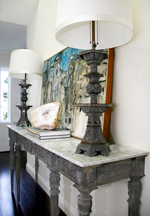 Entryway Refurbished Console and Vintage Accessories | D.L. Rhein #dlrhein