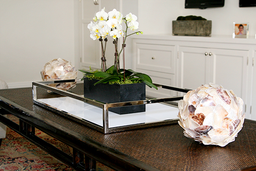 Boxed orchids are perfect atop a chrome and lacquer tray | D.L. Rhein #dlrhein