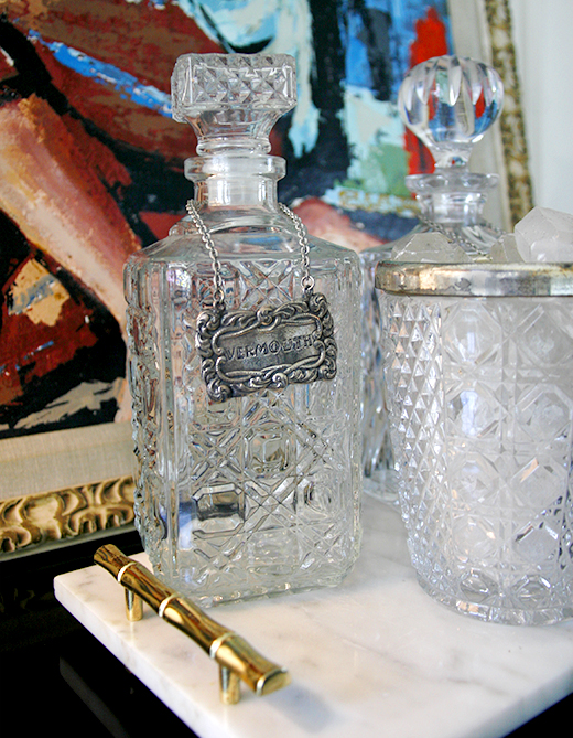Vintage Decanters are the perfect juxtoposition in a modern dining room #dlrhein