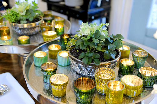 Potted Herbs and Mercury Glass Votives #emerald #dlrhein #engagementparty