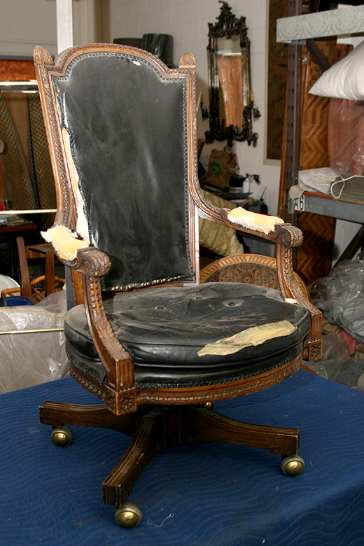 BEFORE | Antique leather desk chair