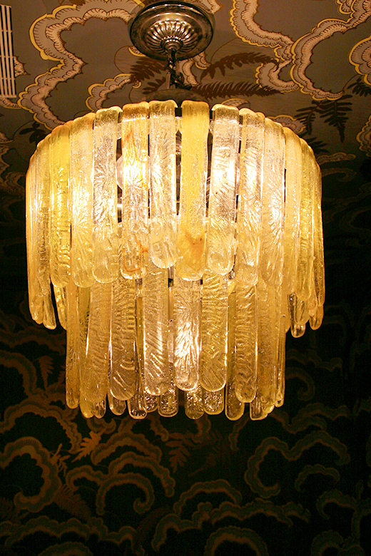 POWDER ROOM | D.L. RHEIN #yellow #vintage #chandelier #walnutwallpaper