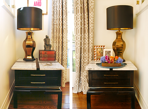 Two of a kind Pair of #vintage #brass #lamps atop a matching set of #marble top #vintage #sidetables #dlrhein