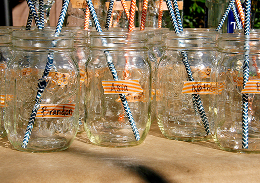 Washi Tape Name Markers on Mason Jars