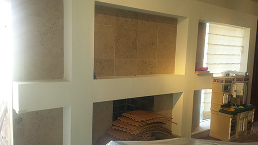 BEFORE | Fireplace with old tile