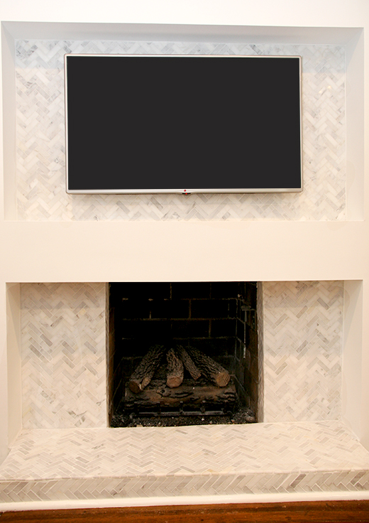 Marble Chevron Fireplace with Plasma TV #dlrhein