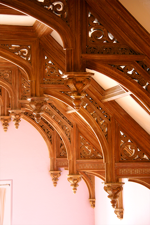 Handcarved rafters and cornices throughout Greystone Mansion | D.L. Rhein