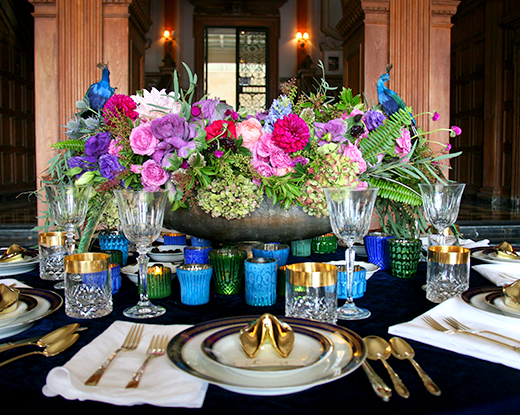 Our table scape for a private dinner party at Greystone Mansion.  Centerpiece by the amazing Seed Floral.  | D.L. Rhein