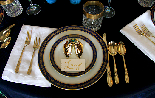 Vintage Dinnerware and Glassware | Brass Silverware | Gold Fortune Cookie Place Card at Greystone Mansion | D.L. Rhein