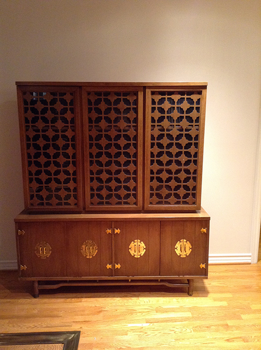 BEFORE | Vintage Cherry Wood Chinoiserie Cabinet
