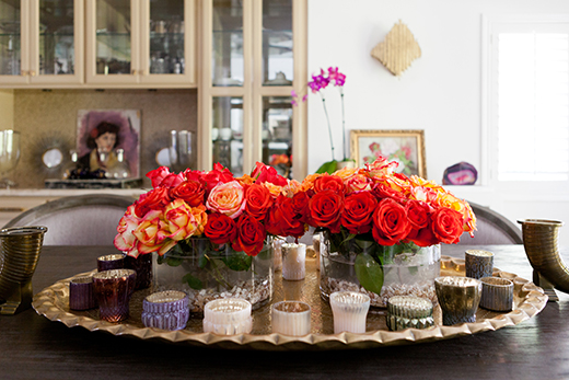 EVERYTHING'S COMING UP ROSES!  VINTAGE MOROCCAN TRAY AND MERCURY GLASS VOTIVES.  | D.L. RHEIN #dlrhein #roses