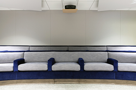 Screening Room Seating in Navy Mohair, Velvet and Robert Allen's Linen Canvas in Navy Blazer | D.L. RHEIN