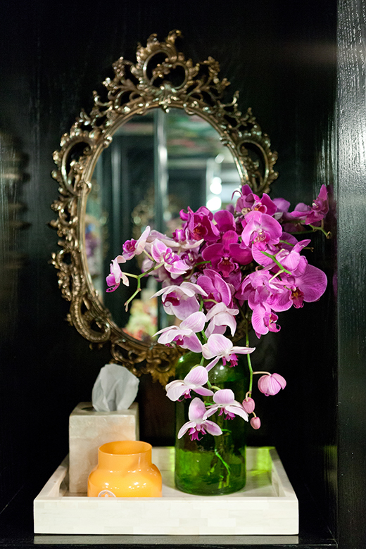 Antique Parisian Mirror, Fresh Orchids, Bone Tray and Fresh Orchids |D.L. RHEIN