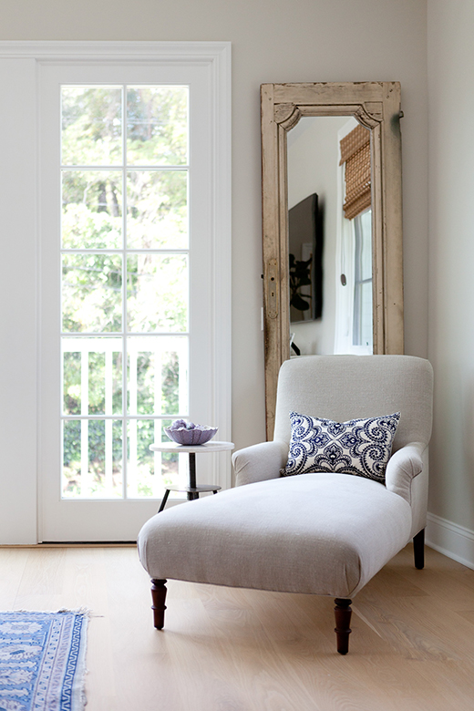 Chaise and Vintage Mirrored Door | D.L. RHEIN
