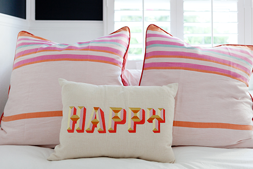 Turkish towels turned pillows and embroidered Happy by D.L. RHEIN